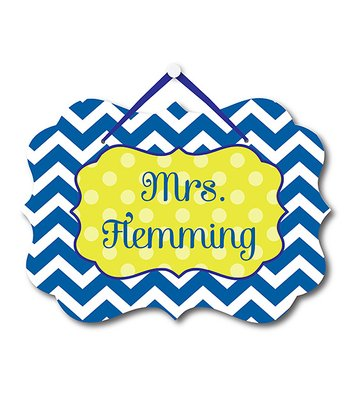 Blue Zigzag Teacher Personalized Door Sign