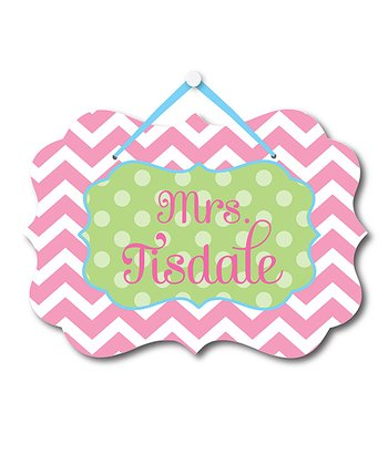 Pink Zigzag Teacher Personalized Door Sign
