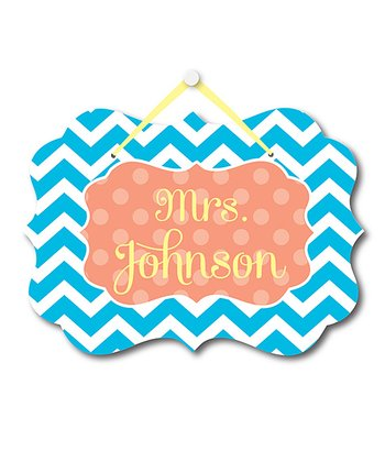 Aqua Zigzag Teacher Personalized Door Sign