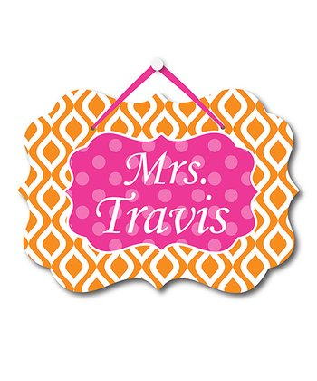 Orange Ikat Teacher Personalized Door Sign