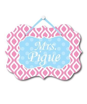 Pink Ikat Teacher Personalized Door Sign
