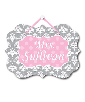 Gray Damask Teacher Personalized Door Sign