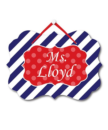 Navy Stripe Teacher Personalized Door Sign