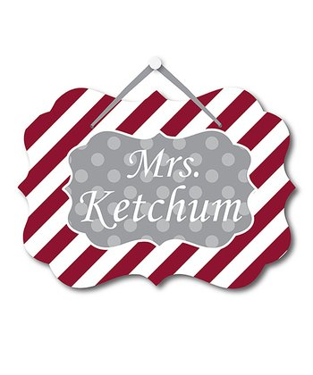 Burgundy Stripe Teacher Personalized Door Sign