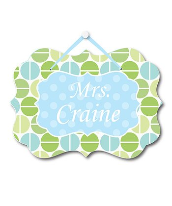 Green Polka Dot Teacher Personalized Door Sign