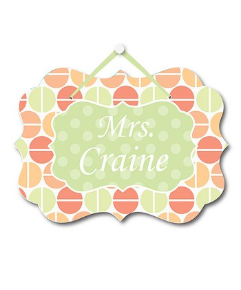 Coral Polka Dot Teacher Personalized Door Sign