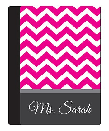 Pink Zigzag Teacher Personalized Notebook Cover