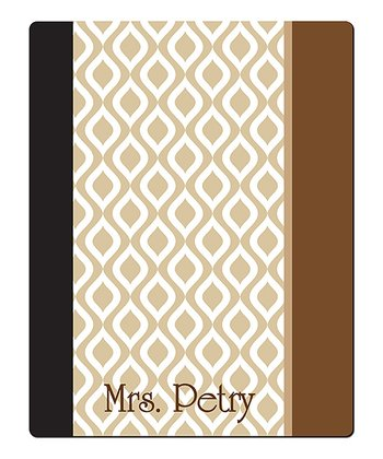 Beige Ikat Teacher Personalized Notebook Cover