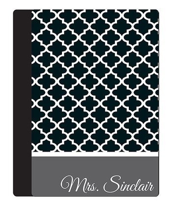 Black Quatrefoil Teacher Personalized Notebook Cover