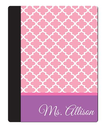 Pink Quatrefoil Teacher Personalized Notebook Cover