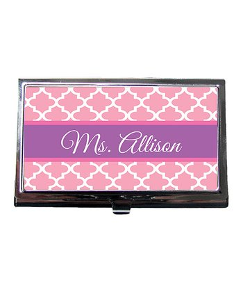 Pink Quatrefoil Teacher Personalized Business Card Holder