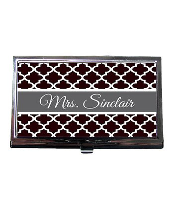 Black Quatrefoil Teacher Personalized Business Card Holder