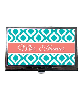 Blue Diamond Teacher Personalized Business Card Holder