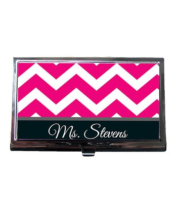 Pink Zigzag Teacher Personalized Business Card Holder