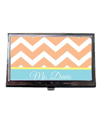 Melon Zigzag Teacher Personalized Business Card Holder