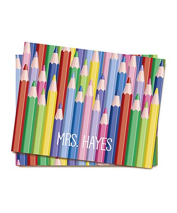 Colored Pencils Personalized Folded Note Card Set