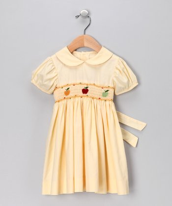 Yellow Smocked Apple Dress - Girls