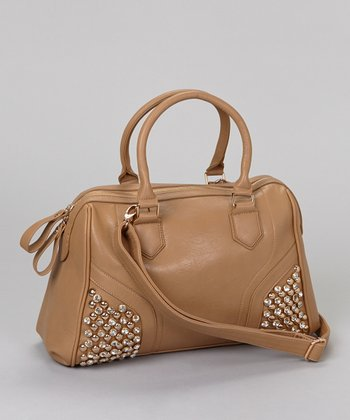 Khaki Crystal Studded Satchel