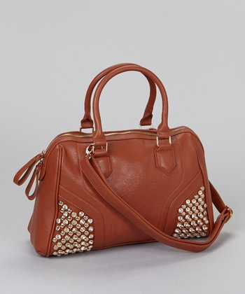 Brown Crystal Studded Satchel