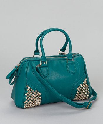 Emerald Crystal Studded Satchel