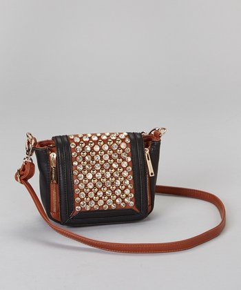 Brown Rhinestone Crossbody Bag