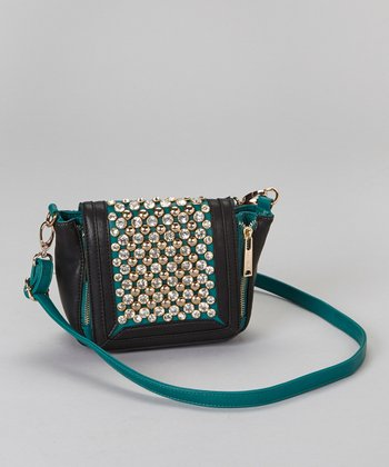 Emerald Rhinestone Crossbody Bag