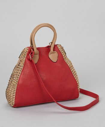 Red & Gold Studded Tote