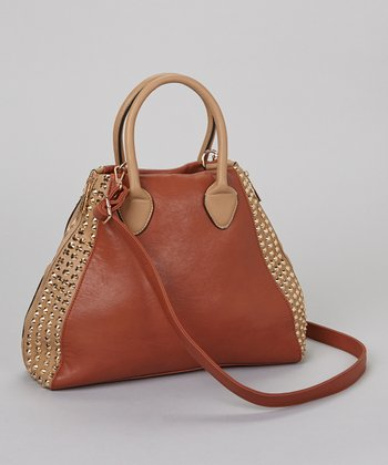 Brown & Gold Studded Tote