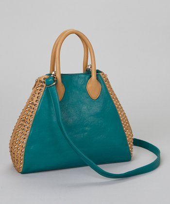 Emerald & Gold Studded Tote