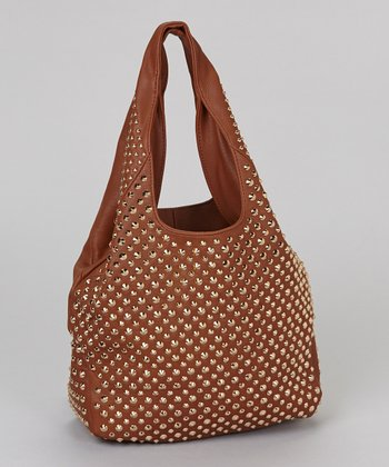 Cognac Allover Gold Studded Hobo