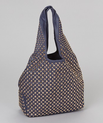 Navy Allover Gold Studded Hobo