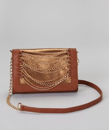 Dark Brown & Gold Chain Convertible Clutch