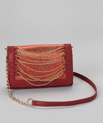 Wine & Gold Chain Convertible Clutch