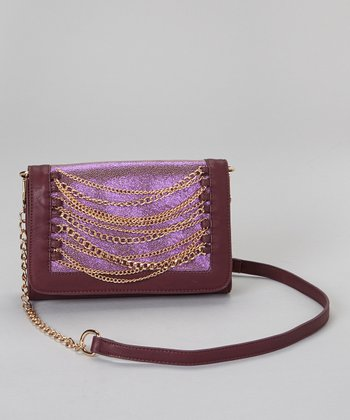 Plum & Gold Chain Convertible Clutch