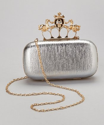 Silver Skull Knuckle Box Clutch