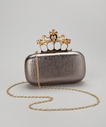 Pewter Skull Knuckle Box Clutch