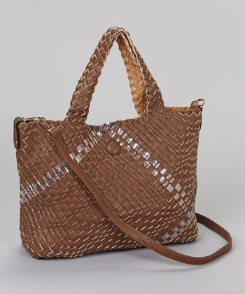Brown Woven Convertible Tote