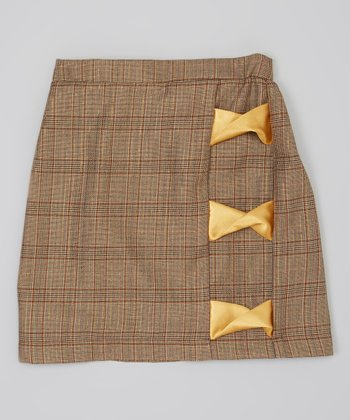 Brown & Gold Plaid Skirt - Infant, Toddler & Girls