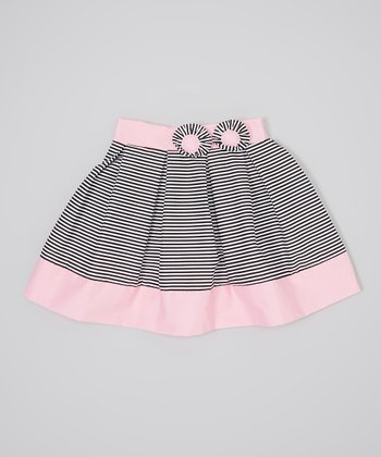 Black & Pink Stripe Pleat Rosette Skirt - Infant, Toddler & Girls