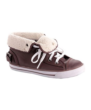 Brown Fleece Fold-Down Sneaker - Kids