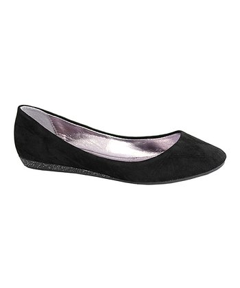 Black Sophia Ballerina Wedge Flat - Kids