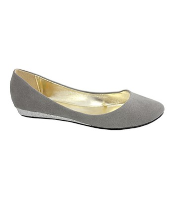 Gray Sophia Ballerina Wedge Flat - Kids