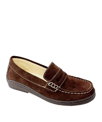 Brown Suede Penny Loafer - Kids