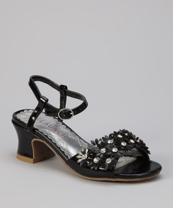 Black Flower Sandal - Kids