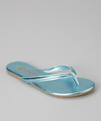Blue Metallic Kylie Flip-Flop - Kids