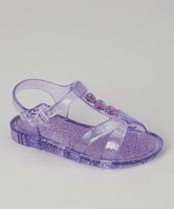 Purple Sparkle Jelly Sandal - Kids