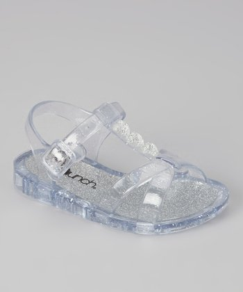 Silver Sparkle Jelly Sandal - Kids