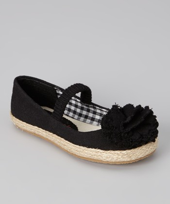 Black Lulu Strap Flat - Girls