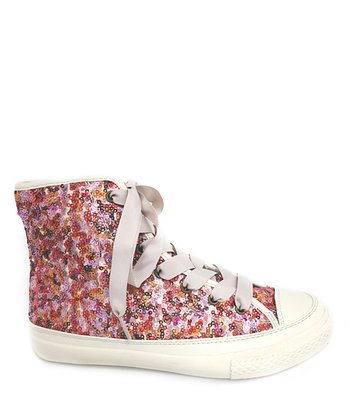 Red & Pink Sparkle Hi-Top Sneaker - Women