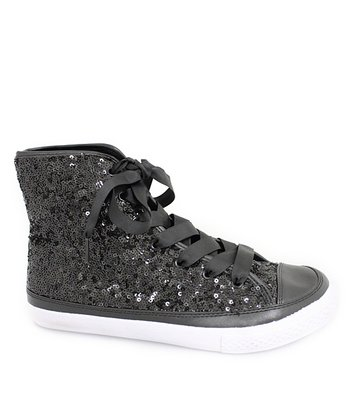 Black Sparkle Hi-Top Sneaker - Women